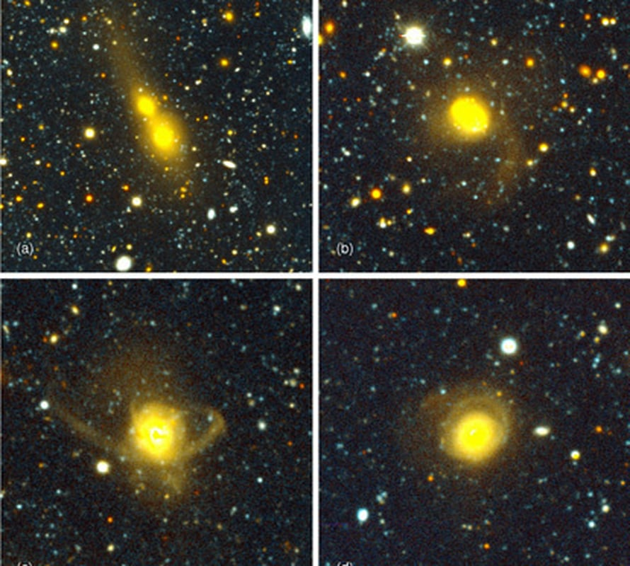 Eri vaiheissa olevat törmäykset kertovat, miten galaksit sulautuvat toisiinsa (Yale/NDWFS/MUSYC).