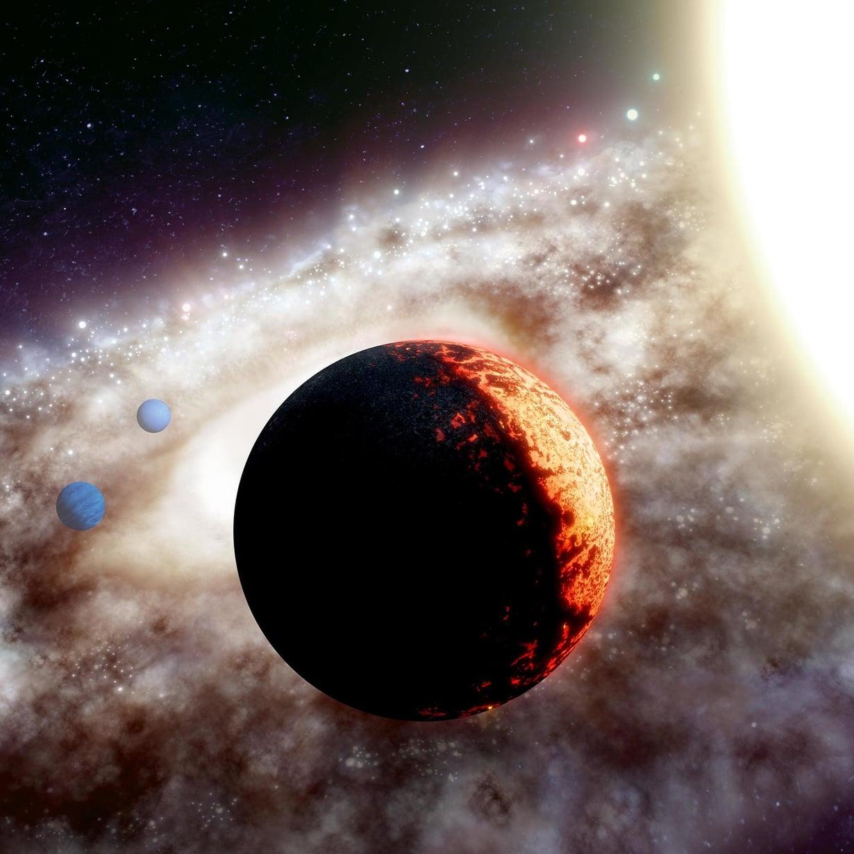 Taiteilijan näkemys TOI-561b-planeetasta, joka kiertää tähteään aivan lähituntumassa. Kuva: Adam Makarenko / W. M. Keck Observatory